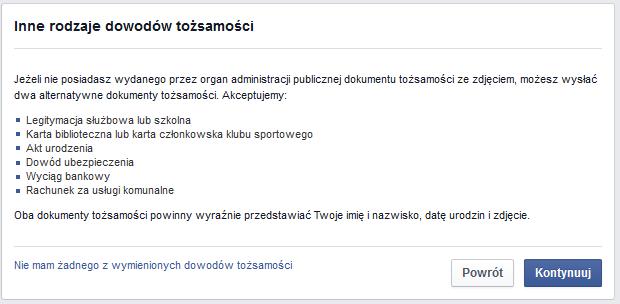 weryfikacja facebook, inne rodzaje dowodu tożsamości