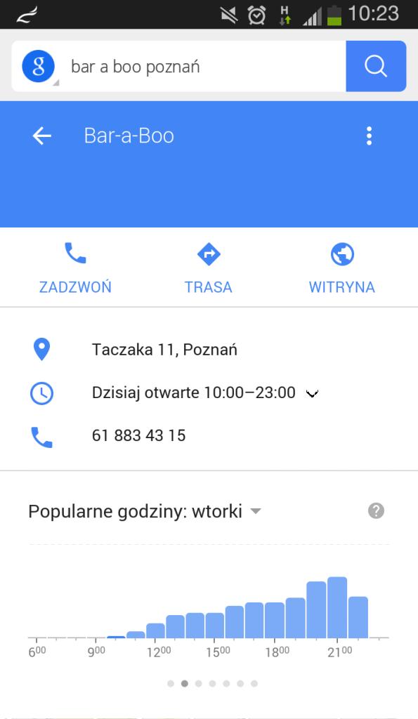 Wyszukiwanie restauracji w Google Search