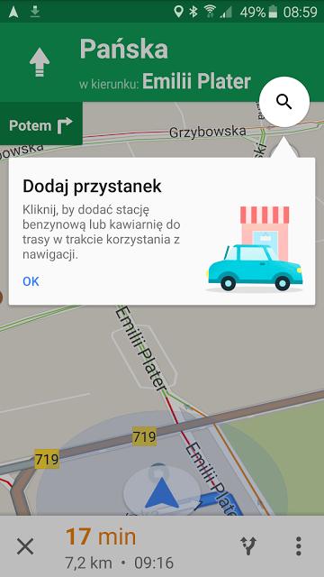 Mapy Google z objazdem