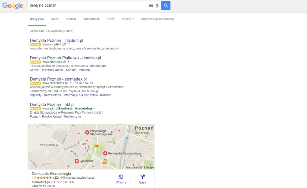 Znika panel boczny w wynikach wyszukiwania