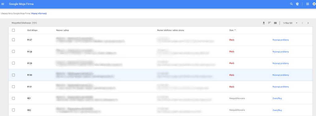 Google Moja Firma - lista zaimportowanych lokalizacji