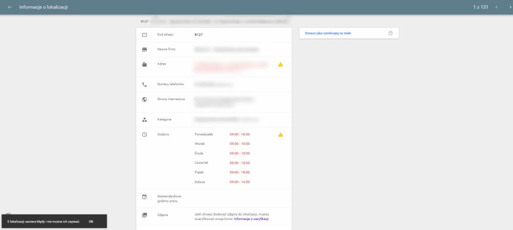 Google Moja Firma - uzupełnienie danych punktu