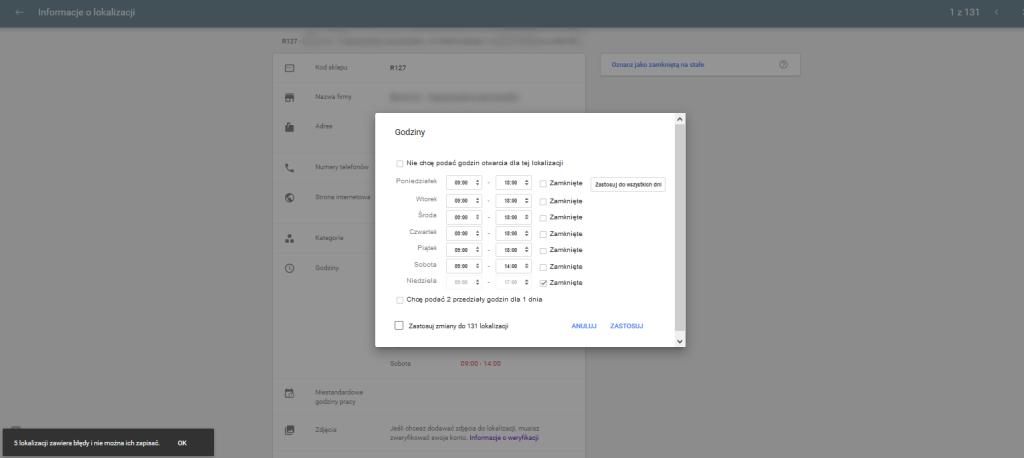 Google Moja Firma - ustawienie godzin otwarcia