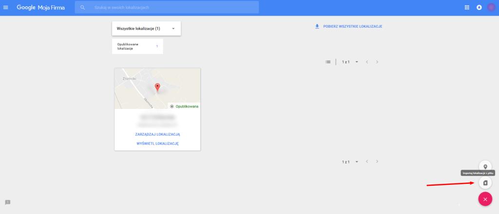 Google Moja Firma - zaimportowane miejsca