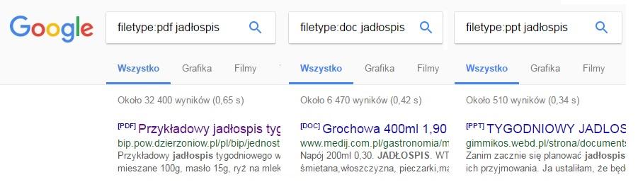Wyszukiwanie według typu plików