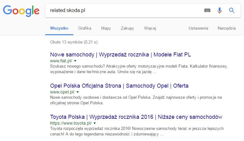 Podobne strony według Google