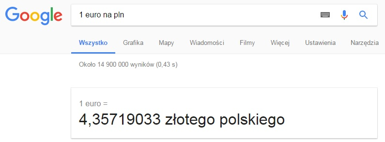 Przelicznik walut w Google