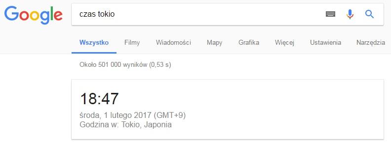 Czas i godzina w wynikach wyszukiwania