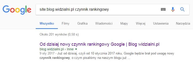 Google site operator - przykład zastosowania