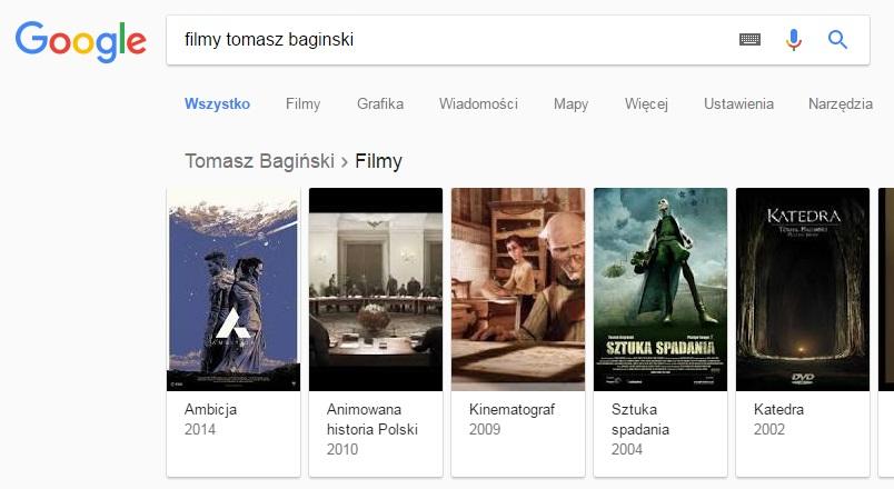 Filmografia w Google