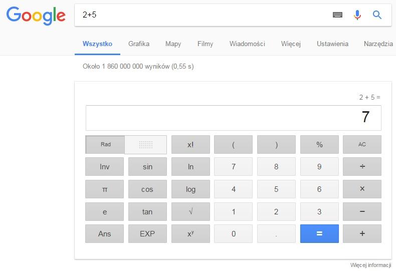 Kalkulator w Google