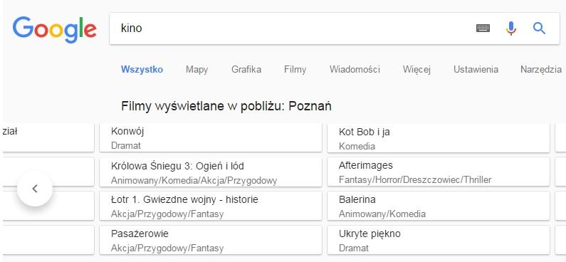 Repertuar kin w Google