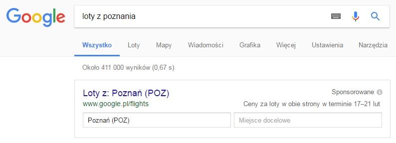 Wyszukiwarka lotów w Google