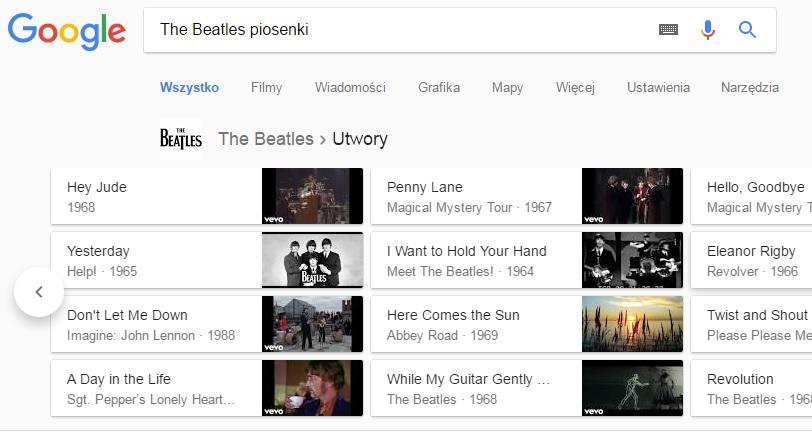 Dorobek muzyczny artysty w Google