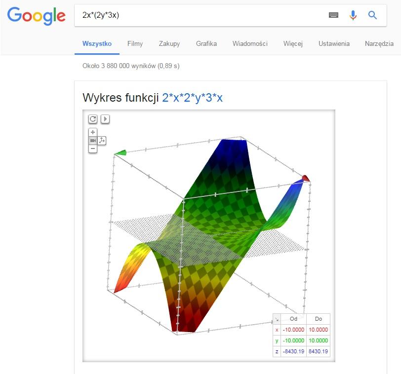 Obliczenia matematyczne w Google