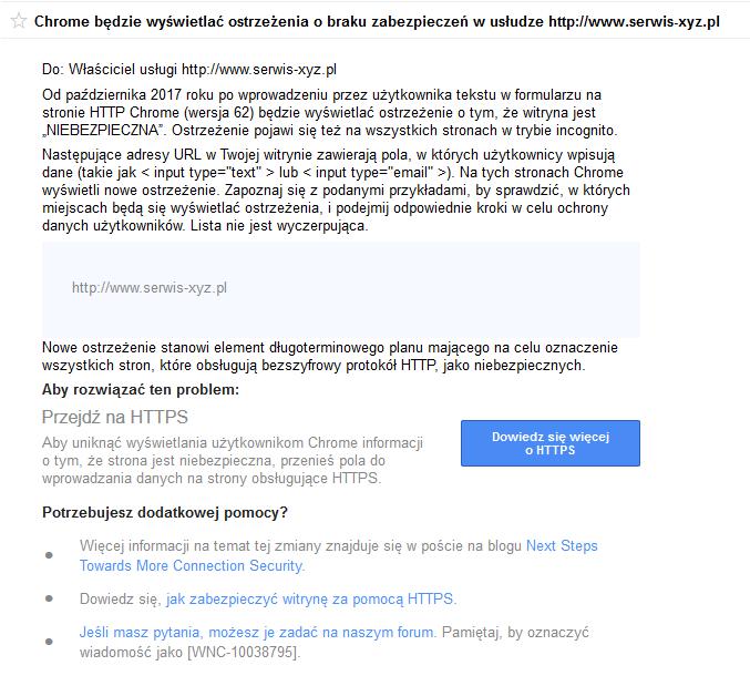 Certyfikat SSL a Google Chrome (wersja 62)