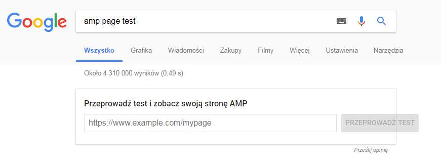 Google AMP Page Test