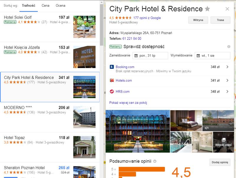 Google Hotel Ads - widok karty hotelu