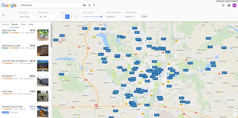 Wyniki Google Hotel Ads w wersji desktopowej