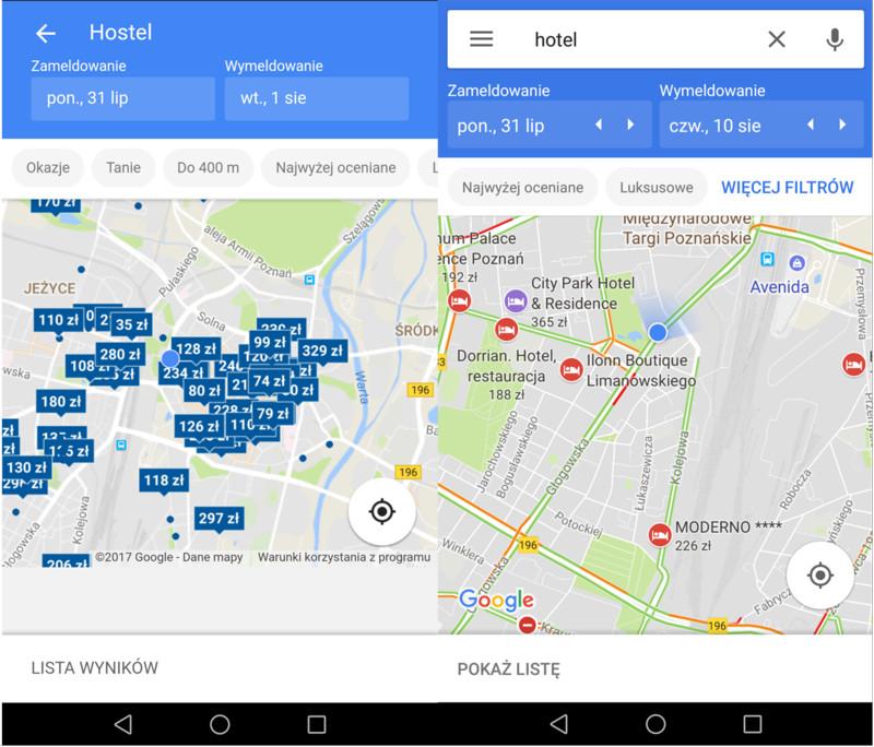 Google Hotel Ads - wersja mobilna