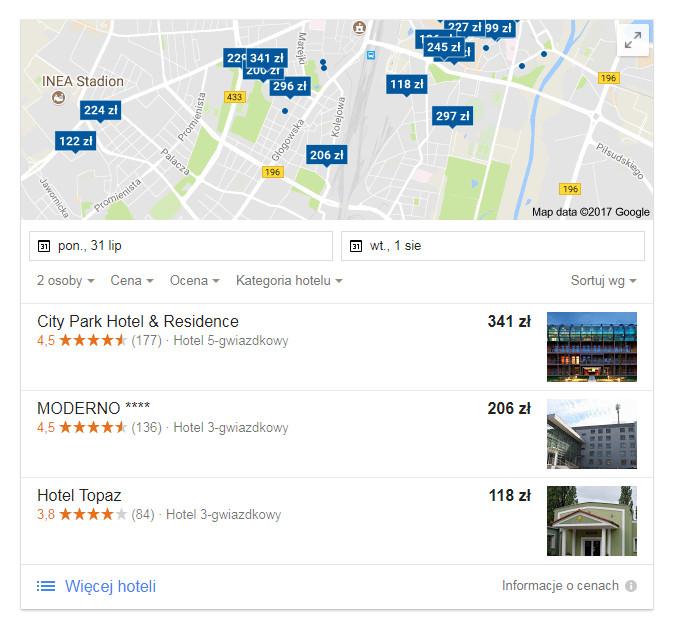 Google Hotel Ads - wyniki wyszukiwania organicznego