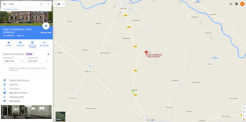 Google Maps - podgląd wybranego obiektu