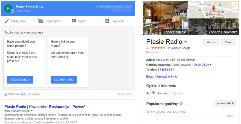 Edycja danych w Google Moja Firma