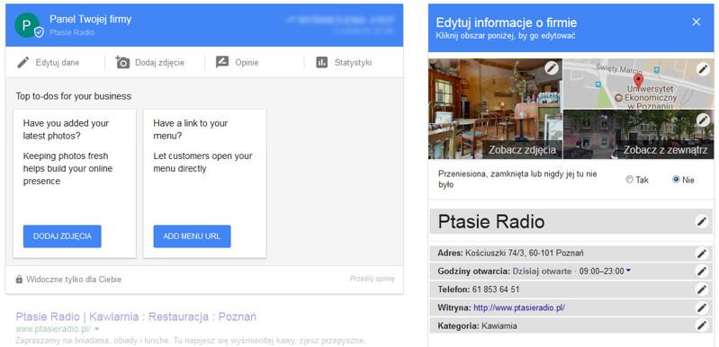 Edycja danych w Google My Business