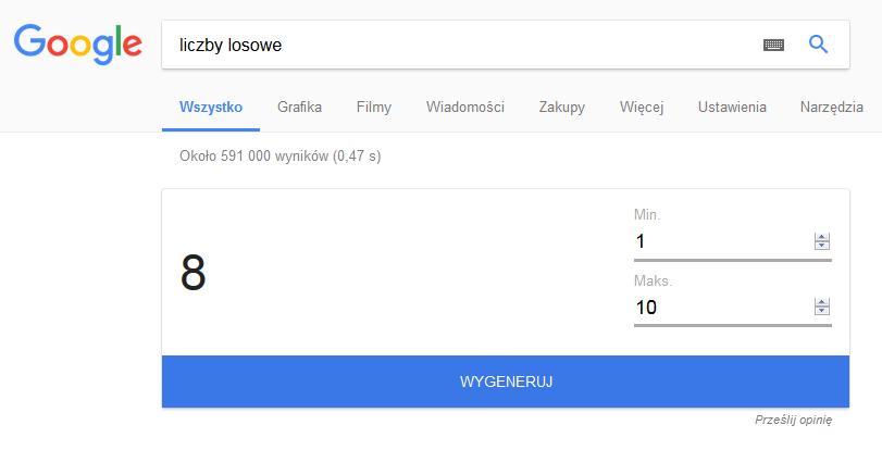 Liczby losowe w Google