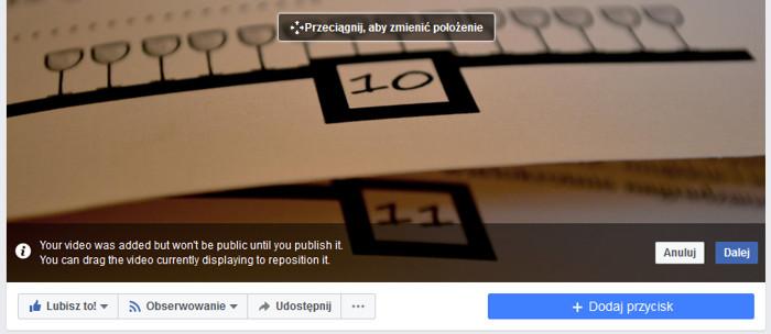Ustawienie pozycji filmu w tle - Facebook