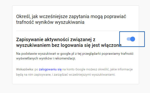 Zapisywanie aktywności na koncie Google