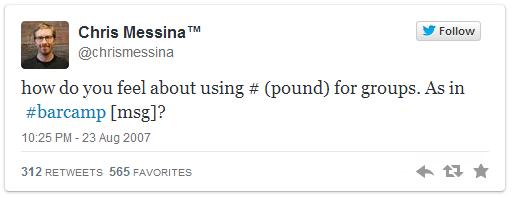 Chris Messina - Tweet z zapytaniem o hashtagi