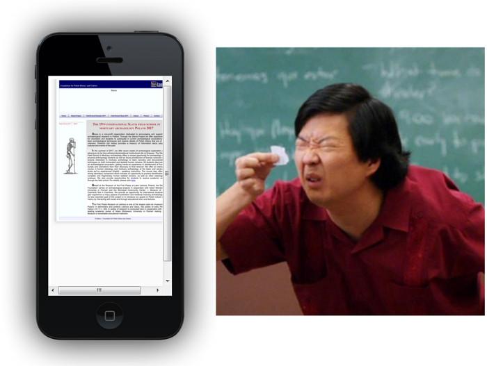 Czytelność strony www nieprzystosowanej do urządzeń mobilnych