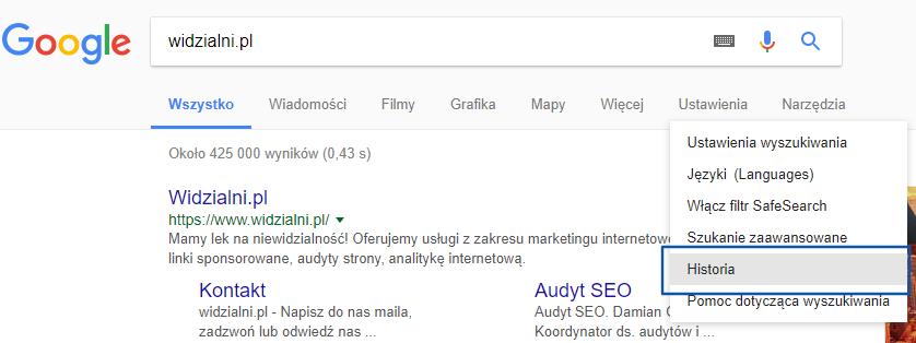 Historia wyszukiwania Google