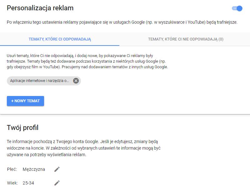 Personalizacja reklam Google