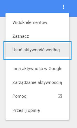Usuwanie aktywności na koncie Google