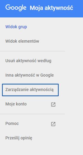 Zarządzanie aktywnością konta Google