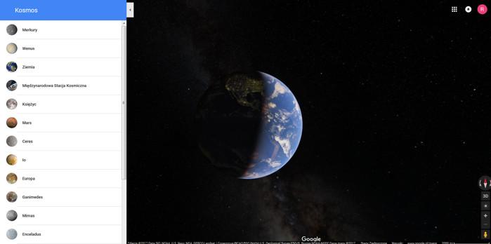 Zwiedzanie kosmosu w Google Maps