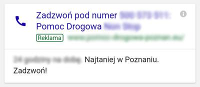Call-only Ads w wynikach wyszukiwania