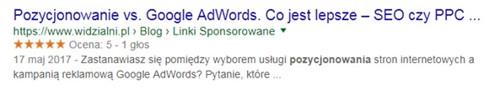 Tytuł strony w wynikach wyszukiwania Google