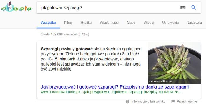 Odpowiedź w Google na pytanie: jak ugotować szparagi?