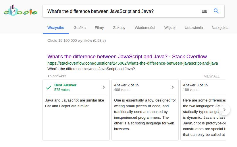 Żartobliwe odpowiedzi na pytania w Google