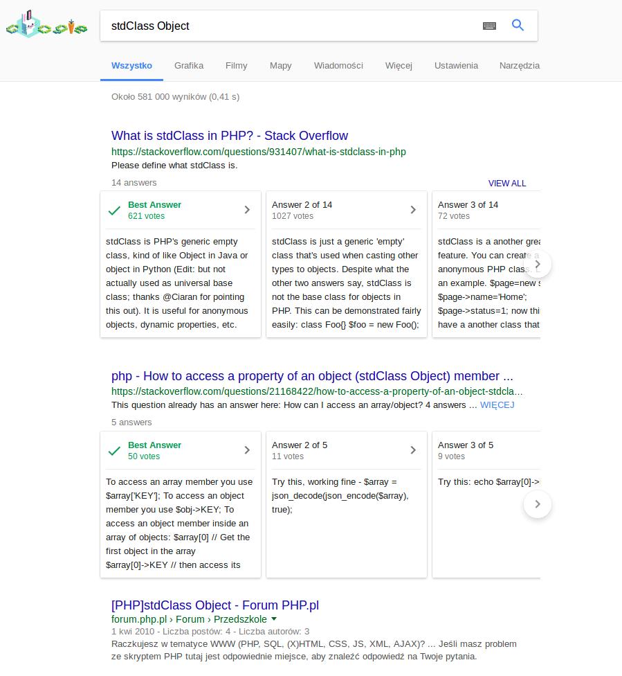 Dwie sekcje odpowiedzi w Google