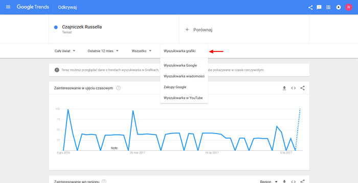 Wyszukiwanie w różnych źródłach w Google Trends