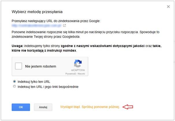 Błąd podczas przesyłania adresów w Google Search Console