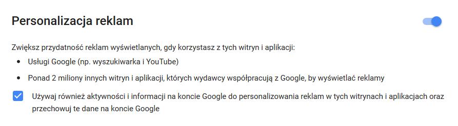 Personalizacja reklam na koncie Google