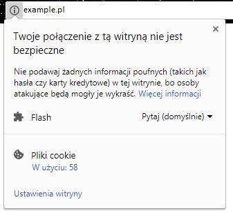 """Komunikat: """"Twoje połączenie z tą witryną nie jest bezpieczne"""""""
