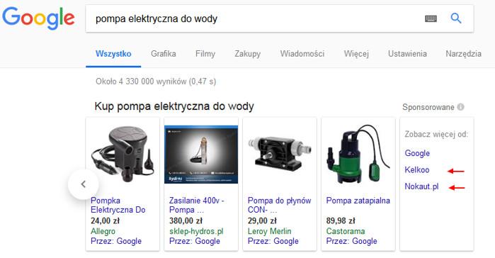 Zakupy Google - zróżnicowanie wyników