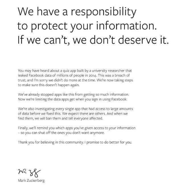 Facebook - przeprosiny w brytyjskich i amerykańskich dziennikach