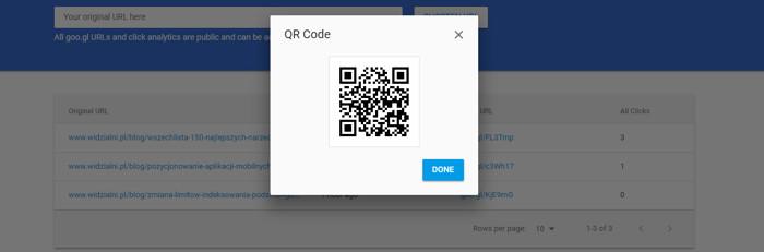 Podgląd kodu QR w goo.gl